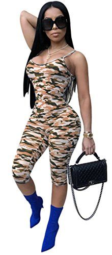 45b052d6990de Didala Womens Sexy Sleeveless Camouflage Printed Slim Spaghetti Strap  Nightclub Bodycon Jumpsuit Rompers