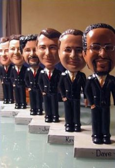 Personalized bobble heads as a groomsman gift idea...umm who doesn't want a bobble head of themselves?! CUZ I KNOW HOW MUCH YOU LOVE BOBBLEHEADS!!
