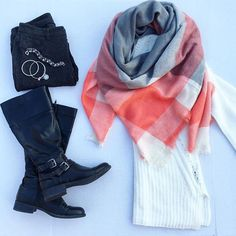 Boots and blanket scarves... Winter times basics (but with a pop of color twist). ONETEACHERSSTYLE. Teacher style. Teacher fashion. Teacher chic.