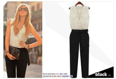 HOT !Women Jumpsuit Tank Sleeveless Overall Ladies' Casual Jumpsuits Black Pants Rompers White Lace Top Belt Plus Size-in Jumpsuits & Rompers from Apparel & Accessories on Aliexpress.com