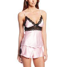 2pcs Set Sexy Women Satin Lace Sleepwear Babydoll Lingerie Nightdress Pajamas