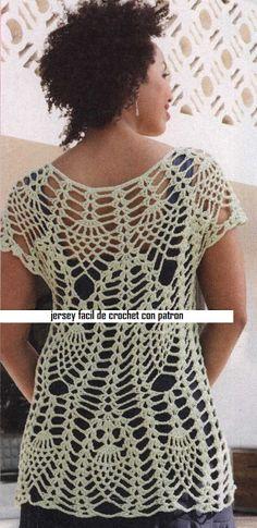 Patrones Crochet: Jersey de Red Superposicion de Otoño