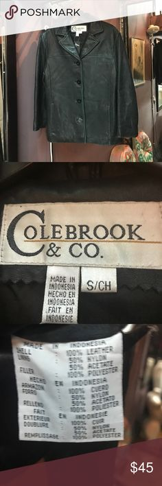 Colebrook & Co black leather classic jacket Colebrook & Co black SUPER buttery soft leather, classic cut, jacket. Double breasted button closure. Fully lined. It's been worn but no flaws. Just seems to have got softer! Colebrook & Co Jackets & Coats