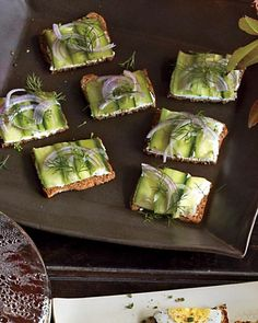 Goat Cheese, Cucumber, and Dill Tea Crackers: Whole-grain crackers stand in for traditional tea sandwiches, and tangy goat cheese and cucumber are a healthy topping, Wholeliving.com