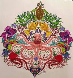Johanna Basfords Lost Ocean Colouring Book Lostocean Page 3 Big Octopus Fish