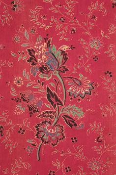 French Antique Turkey Red Printed Cotton c1850 Provence Designed Floral Old | eBay