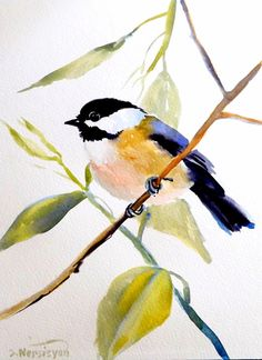 Etsy Transaction - Chickadee, Original watercolor painting, 12 X 9, bird lover…