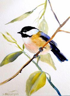 Etsy Transaction - Chickadee, Original watercolor painting, 12 X 9, bird lover, nursery art, kids wall art, illustration, bird, birds