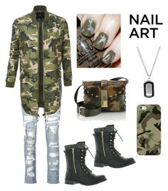 """""""camo nails"""" by im-karla-with-a-k ❤ liked on Polyvore featuring Casetify, Furla, rag & bone/JEAN, LE3NO and Forever Link"""