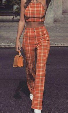 Mad About You Orange Plaid Pattern Sleeveless Spaghetti Strap Backless Halter Crop Top Straight Leg Pants Jumpsuit Two Piece Set Inspired by Emrata Emily Ratajkowski Sold Out Karohosen Outfit, Stage Outfit, Plaid Pants Outfit, Orange Pants Outfit, Orange Clothes, Two Piece Outfits Pants, Plaid Outfits, Patterned Pants Outfit, Orange Outfits