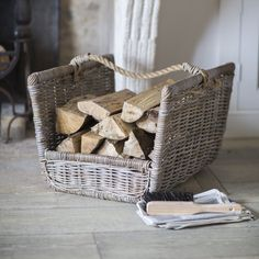 Our new Log Holder with Rope Handle looking stunning by a large open fire in this splendid Period house. Buy online https://www.willowandstone.co.uk/household-goods/log-holder-with-rope-handles.php
