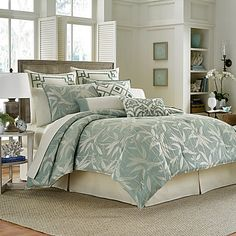 Escape to the paradise of your dreams with the Tommy Bahama Bamboo Breeze Duvet Cover Set. This beautiful bedding has a soft bamboo pattern layered on a relaxing shade of sea mist that will take your mind to the warm tropics every night.