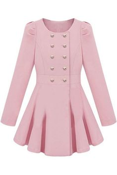 ROMWE Double-breasted Skirt Hem Design Pink Trench-coat/$73.14- I own this.