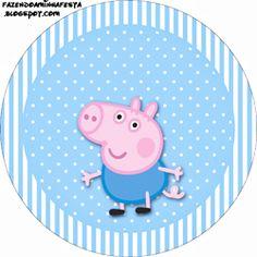 """Imprimés Thème """"Peppa Pig"""" - Pois & Rayures - Azur : http://fazendoanossafesta.com.br/2013/11/george-pig-peppa-pig-kit-completo-com-molduras-para-convites-rotulos-para-guloseimas-lembrancinhas-e-imagens.html/"""