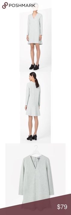 """➡c.o.s. Gray V-Neck Melange Dress⬅ Made from lightly textured fabric with a subtle melange quality, this dress has a clean v-neckline and panel on the back for subtle flared shape. Loosely fitting with neat shoulders and long sleeves, it is secured with a hidden back zip fastening.  Back length is 36"""".  67% Polyester / 29% Viscose / 4% Elastane. Machine wash cold. c.o.s. Dresses Long Sleeve"""