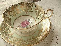 Antique Paragon pink rose tea cup and saucer, green tea cup, English tea cup, bone china tea cup, green and gold tea cup, antique tea set