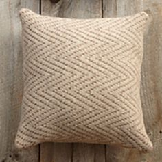Ravelry: Chevron Felted Pillow pattern by Lion Brand Yarn Knit cushion cover Knitted Cushions, Knitted Afghans, Knitted Blankets, Tricot Simple, Lion Brand Patterns, Felt Pillow, Crochet Pillow, Knitting Machine Patterns, Crochet Patterns