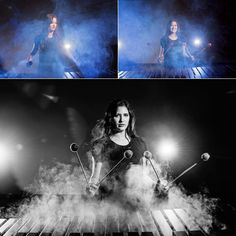 High School senior photos. Girl playing the marimba at Granbury High School. Dramatic lighting achieved with three off camera flashes and a fog machine. taken by Vanja D Photography in Fort Worth TX www.vanjad.com