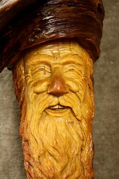 Wood Carving of a Wood Spirit Wall Hanging by TreeWizWoodCarvings, $142.00