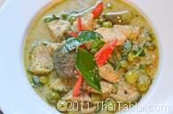 Green Curry   1 lb chicken 1 thinly sliced chili pepper 1 cup coconut milk 1-2 tablespoons green curry paste 6-7 quartered eggplants 2 tablespoons fish sauce 4-5 kaffir lime leaves 1/4 cup pea eggplant 1 tablespoon sugar 3 sprigs Thai basil 1 cup water