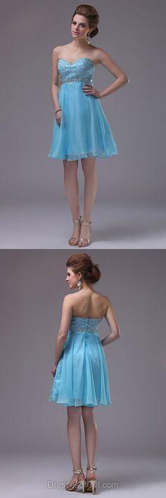 Blue Prom Dresses, Empire Formal Dresses, Sweetheart Evening Dresses, Chiffon Homecoming Dresses, Beaded Graduation Dresses