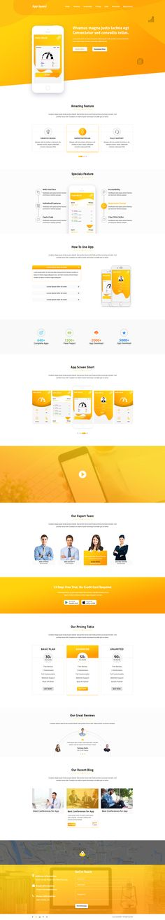 APP Speed Landing page APP Speed is a powerful App Landing PSD template. It is 100% responsive and looks stunning on all types of screens and devices. #webdesign #uidesign #psd