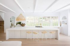 Three Birds Renovations House 10 Kitchen. Mediterranean Farmhouse Inspired Kitchen. Concrete Island Bench