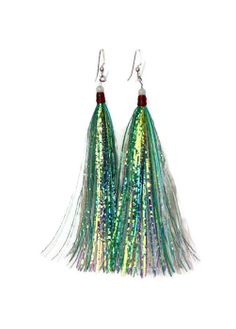 Alluring Earrings - Marine Chic - Fishing - Sparkle - Green - Bait - Jig - Nautical - Rapala - Tassel - Show Me Your Tackle Box Festival Outfits, Festival Fashion, Diy Carnaval, Blue Roses Wallpaper, Fashion Show Themes, Pretty Fish, Hardware Jewelry, Piercings, Fascinator