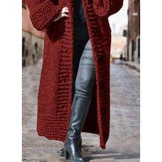 Solid Chunky knit Hooded Casual Long Cardigan (1002322445) - Sweaters - #322445 vencano Hooded Cardigan, Long Cardigan, Sweater Cardigan, Dress For Short Women, Leg Warmers, Hoods, 1, Knitting, Long Sleeve