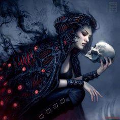 vampire demon with skull gothic artwork - borzii. Dark Fantasy Art, Fantasy Kunst, Fantasy Women, Dark Art, Final Fantasy, Fantasy Artwork, Arte Horror, Horror Art, Gothic Kunst