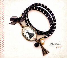 Bracelet liberty pois Cabochon • Mme • noeud robe pois Paris Eiffel chaussures dentelle vintage ruban rétro : Bracelet par bykloe