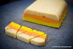 Love the visual on cutting - could do with fudge, rice crispies, cake bites! Kathie Cooks...: Candy Corn Sugar Cookies