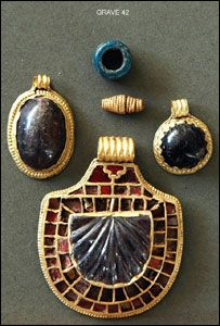 Jewelry, thought to be Anglo-Saxon, found in northern England near Redcar, Teesside.