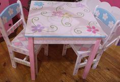 Custom Made Table Painting Kids Furniture, Funky Painted Furniture, Wood Painting Art, Painted Chairs, Painting For Kids, Toddler Table And Chairs, Kid Table, Table And Chair Sets, Furniture Makeover