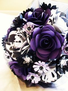 purple black and white bride and groom set wedding event centerpiece bride