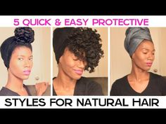 ▶ 5 Quick & Easy Protective Styles For Natural Hair | KashTV - YouTube || Slaps by Grace Eleyae
