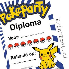 Deze leuke Pokemon diploma's, voor een kinderfeestje met Pickachu in de hoofdrol zijn onderdeel van het doe het zelf Pokemon printable feestpakket van Printpret.nl #diy #feestpakket #kinderfeestje #verjaardag #pokemon #pickachu #printpret #traktatie #diploma #oorkonde