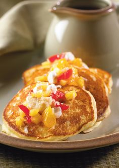 The added protein of Ricotta will make this your go-to pancake recipe. The ambrosia salsa makes this dish restaurant-style! Ricotta Pancakes, Milk And Eggs, Banana Coconut, Pepperoni, Pizza, Dishes, Baking, Breakfast, Bakken