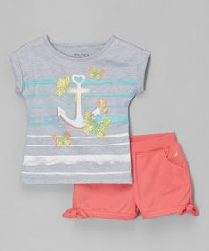 Heather Gray Anchor Tee & Melon Shorts - Infant, Toddler & Girls