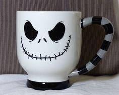 Disney Jack Skellington Gray Striped Handle Nightmare Before Christmas Mug 21oz