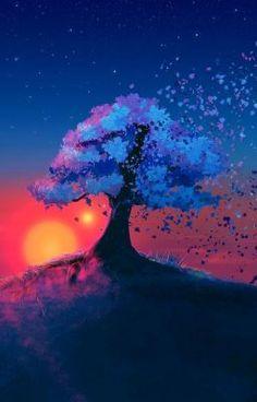 Anime Scenery Wallpaper, Landscape Wallpaper, Galaxy Wallpaper, Sunset Landscape, Fantasy Landscape, Landscape Art, Natur Wallpaper, Painting Wallpaper, Painting Art