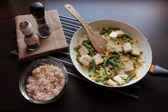 Green and Yellow Soyghurt Tofu with Saffron-Chilli Rice