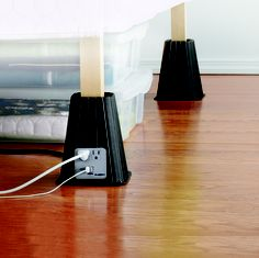 Create more space AND have more outlets? How awesome are these bed risers? #MyDreamDorm