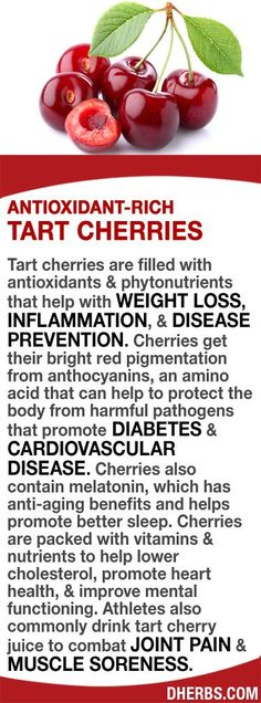 Look Younger : 10 Great Anti Aging Drinks For Women Tart cherries have antioxidants  phytonutrients that help with WEIGHT LOSS, INFLAMMATION,  DISEASE PREVENTION. Their red color is from anthocyanins, an amino acid that helps to protect the body from DIAB