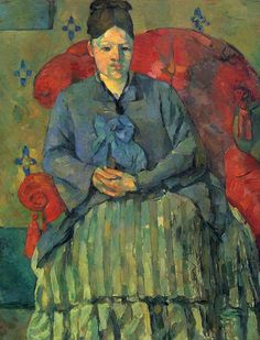 """""""Madame Cézanne dans un fauteuil rouge"""", Paul Cézanne, 1877; olio su tela, 72,5×56 cm; l'opera è esposta presso il Museum of Fine Arts di Boston."""