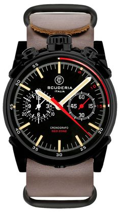 CT Scuderia Red Zone Bullhead Chrono Brown NATO | Free Shipping from Watchismo