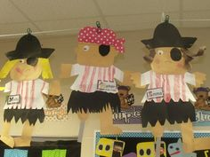 OS Love the pirates the kids made, inspiration only, no directions but easy to replicate Mrs Jump's class: Oceans and Pirates and Fun, OH, MY! Pirate Preschool, Pirate Activities, Pirate Crafts, Pirate Day, Pirate Birthday, Pirate Theme, Pirate Kids, Art Classroom, Classroom Themes