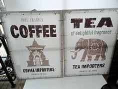 NEXT SET OF 2 TEA & COFFEE KITCHEN  STYLE  WALL ART LARGE CANVAS PICTURES