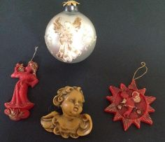 Lot of 4 Vintage German Beeswax Christmas Ornaments Bee's Wax