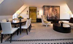Use of imagery on cabinets custom carpet Hospitality Design - Photos: Sofitel Paris le Faubourg